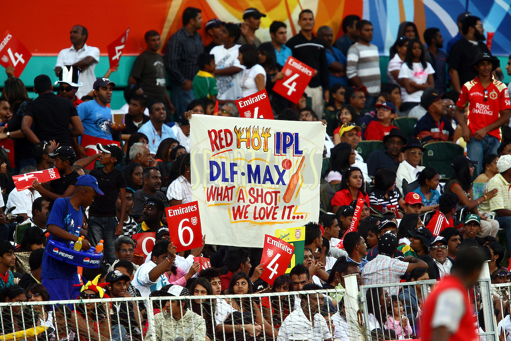 DURBAN, SOUTH AFRICA - 1 May 2009.The supporters showing what they thought of this IPL match during the IPL Season 2 match between Kings X1 Punjab and the Royal Challengers Bangalore held at Sahara Stadium Kingsmead, Durban, South Africa..