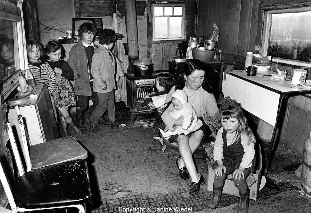 large family of Irish Tinkers living in makeshift shack near Galway in Ireland.