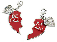 silver and red heart best friends key chain in two pieces
