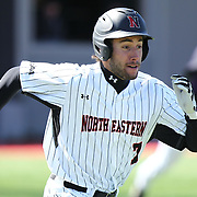 Shane Allen #7 of the Northeastern Huskies runs to first base during the game at Friedman Diamond on March 16, 2014 in Brookline, Massachusetts. (Photo by Elan Kawesch)