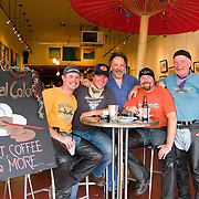 Andy, Eric, (Frank) Skip and Bill, Cross-country motorcycle riders stop for refreshment at Local Color Coffee House, Pike Place Market, Seattle, Washington