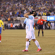 Sergio Aguero, Argentina after a close miss during the Argentina Vs Ecuador International friendly football match at MetLife Stadium, New Jersey. USA. 31st march 2015. Photo Tim Clayton