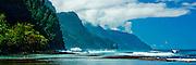 The view from Ke'e beach of the famed, rugged Napali Coast of Kauai, Hawaii