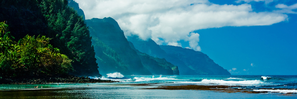 The view from Ke'e beach of the famed, rugged Napali Coast of Kauai, Hawaii