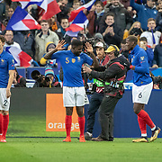 PARIS, FRANCE - March 25:  Samuel Umtiti #5 of France celebrates Paul Pogba #6 of France after scoring an early goal for France with a header during the France V Iceland, 2020 European Championship Qualifying, Group Stage at  Stade de France on March 25th 2019 in Paris, France (Photo by Tim Clayton/Corbis via Getty Images)