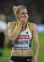 Athletics - 2017 IAAF London World Athletics Championships - Day Three, Evening Session<br /> <br /> Womens Heptathlon 800m<br /> <br /> Carolin Schafer (Germany) breaks down in tears as she celebrates winning the Silver medal  at the London Stadium<br /> <br /> COLORSPORT/DANIEL BEARHAM