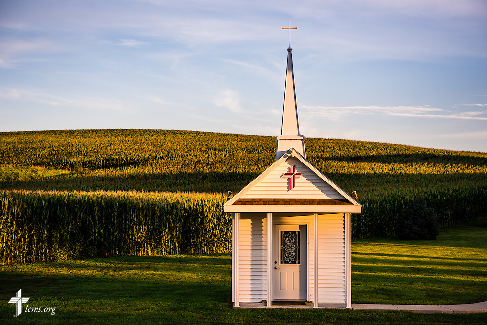 The sun sets over the Wayfair Prayer Chapel at Mission Central on Saturday, July 18, 2015, in Mapleton, Iowa. LCMS Communications/Erik M. Lunsford