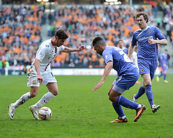 MK Dons defender George Baldock (18) takes on Wolverhampton Wanderers defender Scott Golbourne (26)  - Photo mandatory by-line: Nigel Pitts-Drake/JMP - Tel: Mobile: 07966 386802 29/03/2014 - SPORT - FOOTBALL -  Stadium MK - Milton Keynes - Milton Keynes Dons v Wolverhampton Wanderers - Sky Bet League One