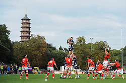Bristol Rugby Lock Ben Glynn catches the ball from a line out - Mandatory byline: Dougie Allward/JMP - 07966 386802 - 13/09/2015 - RUGBY UNION - Old Deer Park - Richmond, London, England - London Welsh v Bristol Rugby - Greene King IPA Championship.