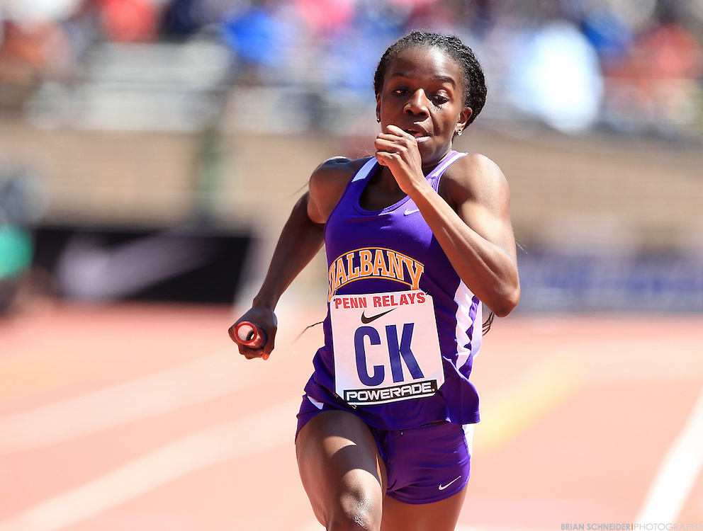 April 26, 2013; Philadelphia, PA, USA; Albany Great Danes 4x200m relay at Franklin Field during the 119th Penn Relays in Philadelphia, PA. Mandatory Credit: Brian Schneider-www.ebrianschneider.com