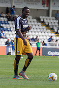 Jordan Slew (Cambridge United) warming up before the Sky Bet League 2 match between Hartlepool United and Cambridge United at Victoria Park, Hartlepool, England on 19 September 2015. Photo by George Ledger.