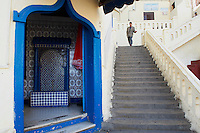 Maroc, Tanger, la Medina, escalier Moktar Ahardan // Morocco, Tangier (Tanger), old city, Medina, Moktar Ahardan stairs