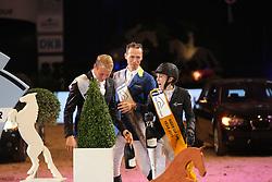 Podium DKB Tour, Meyer Janne Friederike, (GER), Ahlmann Christian, (GER), Will David, (GER)<br /> DKB-Riders Tour<br /> Grand Prix Kreditbank Jumping M&uuml;nchen 2015<br /> &copy; Hippo Foto - Stefan Lafrentz