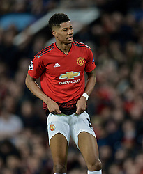 MANCHESTER, ENGLAND - Thursday, April 11, 2019: Manchester United's Marcus Rashford looks dejected after missing a chance during the UEFA Champions League Quarter-Final 1st Leg match between Manchester United FC and FC Barcelona at Old Trafford. Barcelona won 1-0. (Pic by David Rawcliffe/Propaganda)