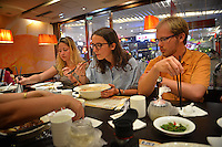 CALS Study Abroad students eat lunch in a Suzhou restaurant.