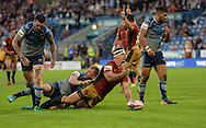 Greg Bird of Catalans Dragons celebrates scoring during the Ladbrokes Challenge Cup match at the John Smiths Stadium, Huddersfield<br /> Picture by Richard Land/Focus Images Ltd +44 7713 507003<br /> 31/05/2018