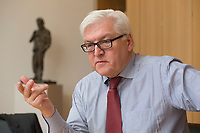 15 JAN 2013, BERLIN/GERMANY:<br /> Frank-Walter Steinmeier, SPD Fraktionsvorsitzender, waehrend einem Interview, in seinem Buero, Jakob-Kaiser-Haus, Deutscher Budnestag<br /> IMAGE: 20130115-01-020<br /> KEYWORDS: B&uuml;ro