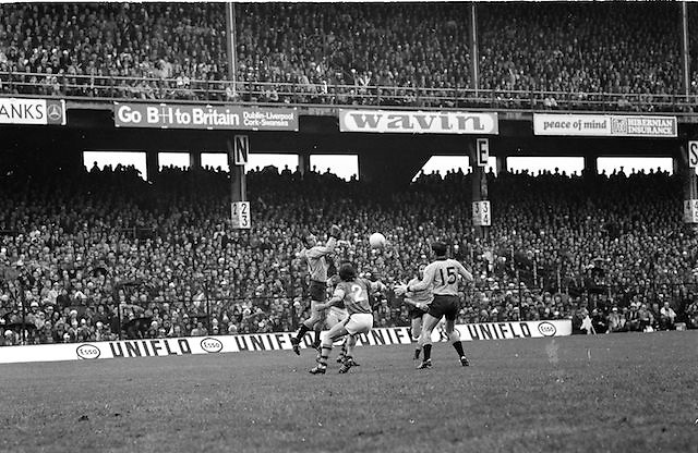 Kerry forwards Denis Morgan and John Egan, getting the ball in this attack on the Dublin goal during the All Ireland Senior Gaelic Football Final, Kerry v Dublin in Croke Park on the 28th September 1975. Kerry 2-12 Dublin 0-11.