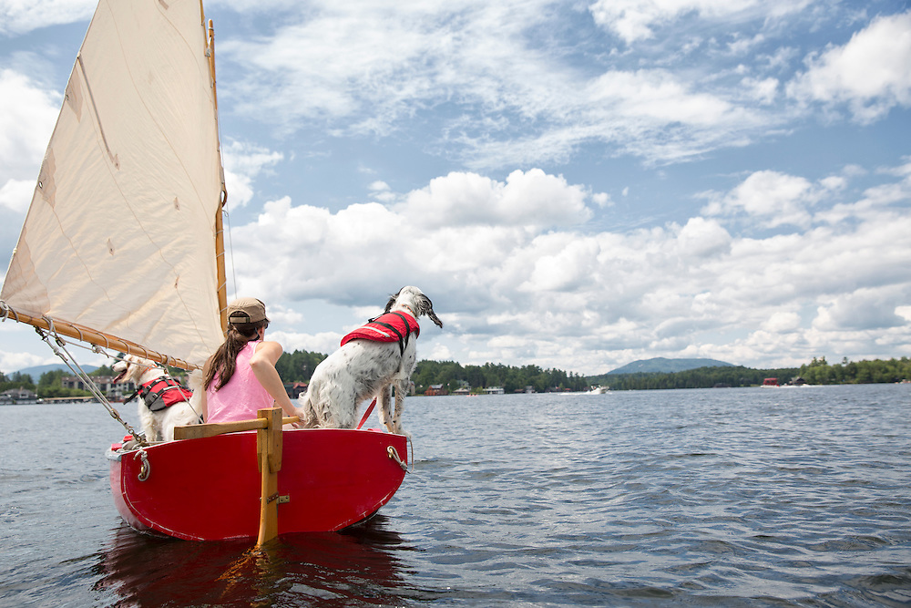 Two English Setters in a red sail boat on Lake Placid