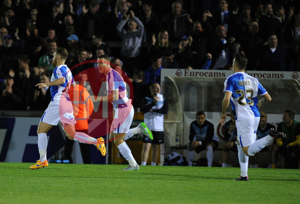 Bristol Rovers celebrate - Mandatory byline: Neil Brookman/JMP - 07966 386802 - 06/10/2015 - FOOTBALL - Memorial Stadium - Bristol, England - Bristol Rovers v Wycombe Wanderers - JPT Trophy