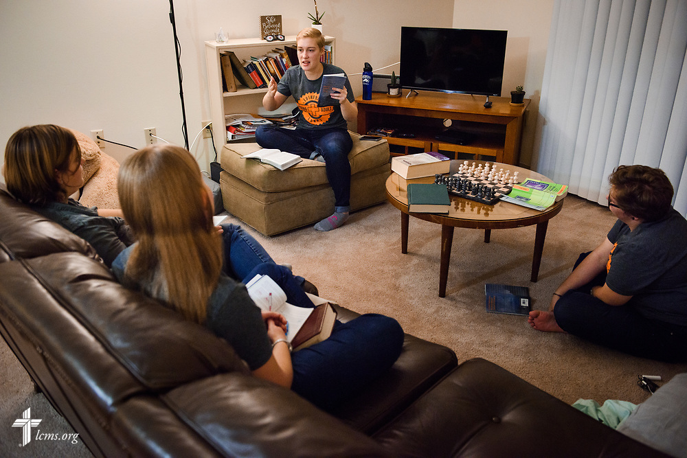 Young Adult Corps participants (L-R) Rachel McCloskey, Sarabeth Marcello, Laura Grundeman and Coretta Hedstrom participate in Bible study at their apartment in Boston on Wednesday, Oct. 25, 2017. LCMS Communications/Erik M. Lunsford