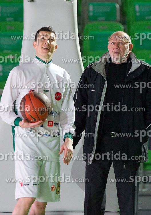 Vlado Ilievski and Janez Rajgelj of Olimpija prior to the basketball match between KK Union Olimpija (SLO) and CSKA Moscow (RUS) in Group D of Turkish Airlines Euroleague, on December 15, 2010 in SRC Stozice, Ljubljana, Slovenia. (Photo By Vid Ponikvar / Sportida.com)