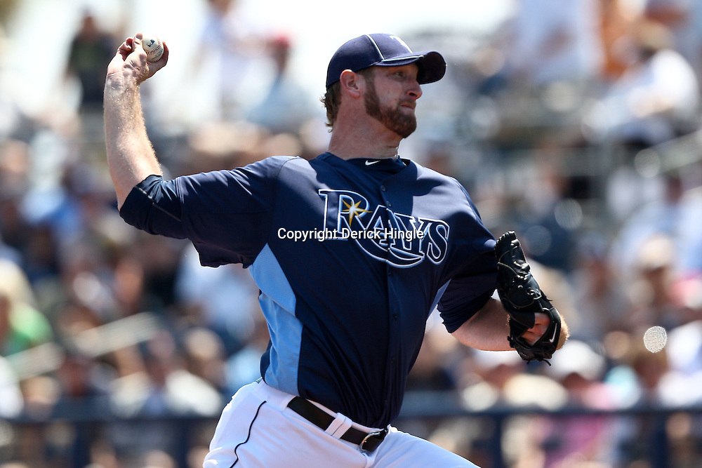 March 20, 2011; Port Charlotte, FL, USA; Tampa Bay Rays starting pitcher Jeff Niemann (34) during a spring training exhibition game against the Baltimore Orioles at Charlotte Sports Park.   Mandatory Credit: Derick E. Hingle