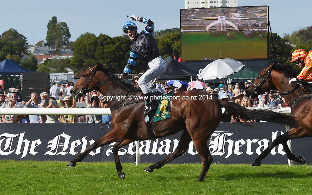 Soriano and jockey Rory Hutchings win Race 9 Zabeel Classic 2000m. Horse Racing. Boxing Day Races at Ellerslie Racecourse in Auckland. New Zealand. Friday 26 December 2014. Photo: Andrew Cornaga/www.photosport.co.nz