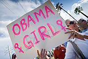 "Sept. 10, 2008 -- PHOENIX, AZ: A self described ""Obama Girl"" at a Barack Obama campaign rally in Phoenix Wednesday. The Barack Obama presidential campaign opened an office in Phoenix Wednesday just five miles from the home of Republican presidential candidate John McCain. About 400 Obama supporters came the opening.   Photo by Jack Kurtz"
