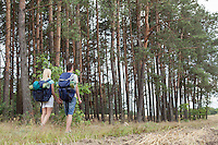 Full length rear view of young backpackers holding hands in woods