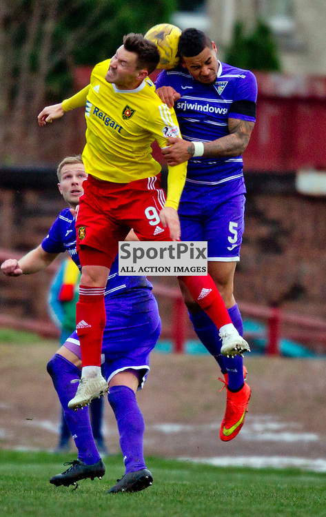 Albion Rovers v Dunfermline Athletic SPFL League One Season 2015/16 Cliftonhill 21 November 2015<br /> Andy Barrowman challenges Ben Richards Everton<br /> CRAIG BROWN   sportPix.org.uk