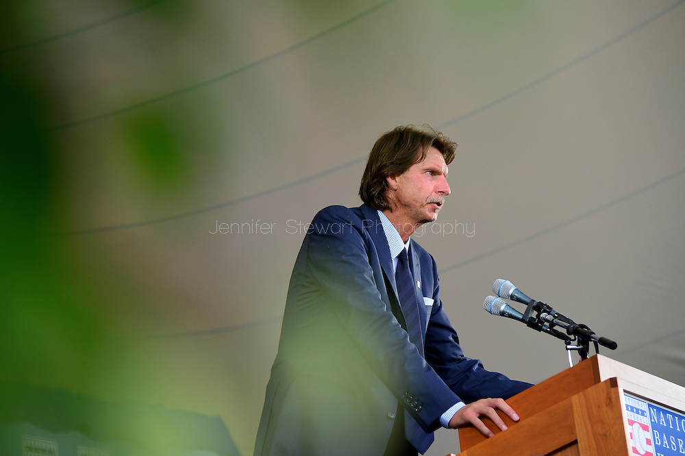 COOPERSTOWN, NY - JULY 26: Hall of Fame Inductee Randy Johnson speaks during the Induction Ceremony at National Baseball of Hall of Fame on July 26, 2015 in Cooperstown, New York. (Photo by Jennifer Stewart/Arizona Diamondbacks/Getty Images)