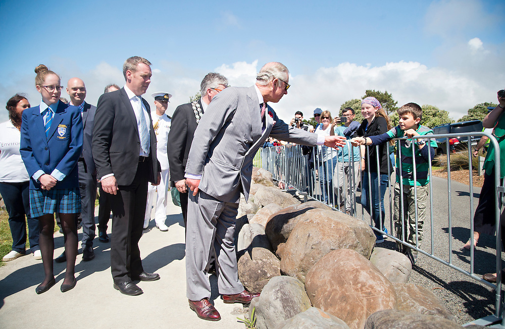 Prince Charles, Prince of Wales after crossing the Te Rewa Rewa Bridge and walking the Coastal Walkway, New Plymouth, New Zealand, New Zealand, Monday, November 09, 2015. Credit:SNPA / Fairfax, Charlotte Curd  **POOL**