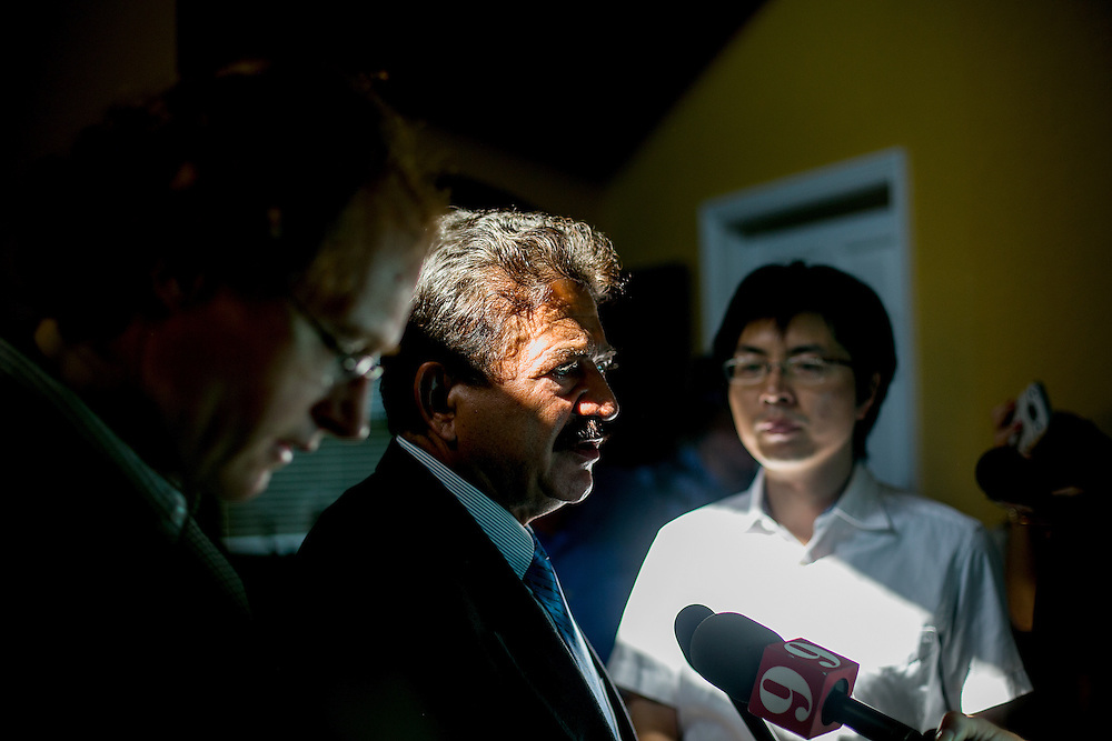 PORT ST LUCIE, FL - JUNE 13, 2016: Seddique Mir Mateen, the father of Omar Mateen, who is reported to have committed a mass shooting that took place inside the Pulse nightclub in Orlando, Florida, speaks to reporters inside his home in Port St Lucie, Florida. CREDIT: Sam Hodgson for The New York Times.