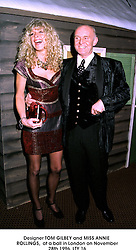 Designer TOM GILBEY and MISS ANNIE ROLLINGS,  at a ball in London on November 28th 1996.LTY 16
