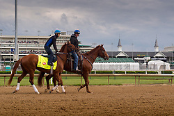 Derby 142 hopeful Gun Runner with Carlos Rosas up were on the track for training, Wednesday, May 04, 2016 at Churchill Downs in Louisville.