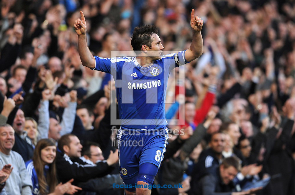 Picture by Andrew Timms/Focus Images Ltd. 07917 236526.25/02/12.Frank Lampard of Chelsea celebrates scoring during the Barclay Premier League match against Bolton Wanderers at Stamford Bridge stadium, London.