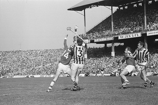 Cork and Kilkenny players try to catch the slitor during at the All Ireland Senior Hurling Final, Cork v Kilkenny in Croke Park on the 3rd September 1972. Kilkenny 3-24, Cork 5-11.