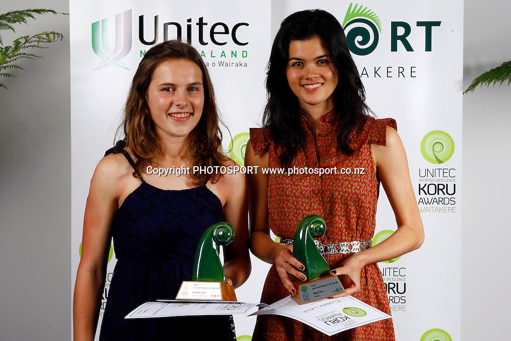 Junior Sportswomen of the year, Elizabeth Lamb and Nadia Pearl, Unitec, Waitakere Sporting Excellence, Koru Awards. Genesis Lounge, Trusts Stadium, Waitakere City, Auckland, 27 November 2009. Photo: William Booth/PHOTOSPORT