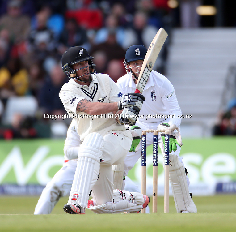 Luke Ronchi sweeps Moeen Ali for six during the second Investec Test Match between England and New Zealand at Headingley, Leeds. Photo: Graham Morris/www.photosport.co.nz