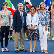 August 22, 2016, New Haven, Connecticut: <br /> Emma Hathaway of Yale University, Yale University President Peter Salovey, New Haven Mayor Toni Harp, and Tournament Director Anne Worcester pose for a photograph during the Opening Ceremonies on Day 4 of the 2016 Connecticut Open at the Yale University Tennis Center on Monday August  22, 2016 in New Haven, Connecticut. <br /> (Photo by Billie Weiss/Connecticut Open)