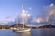 boats anchored in Trellis Bay; early morning; peaceful; British Virgin Islands