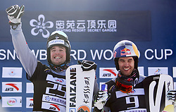 ZHANGJIAKOU, Feb. 24, 2019  Daniele Bagozza (L) and Roland Fischnaller of Italy reacts during the awarding ceremony of the men's Parallel Slalom final of FIS Snowboard World Cup 2018-2019 in Zhangjiakou of north China's Hebei Province, on Feb. 24, 2019. Daniele Bagozza won the first. (Credit Image: © Xinhua via ZUMA Wire)
