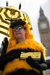 © Licensed to London News Pictures. 26/04/2013. London, UK. Protester dressed as bee stages a demonstration in Parliament Square, London on April 26, 2013. Over 100 beekeepers  from across the UK march on Parliament in opposition to the Government's plan to oppose a ban on bee killing pesticides in a crucial EU vote on Monday. Photo credit : Peter Kollanyi/LNP