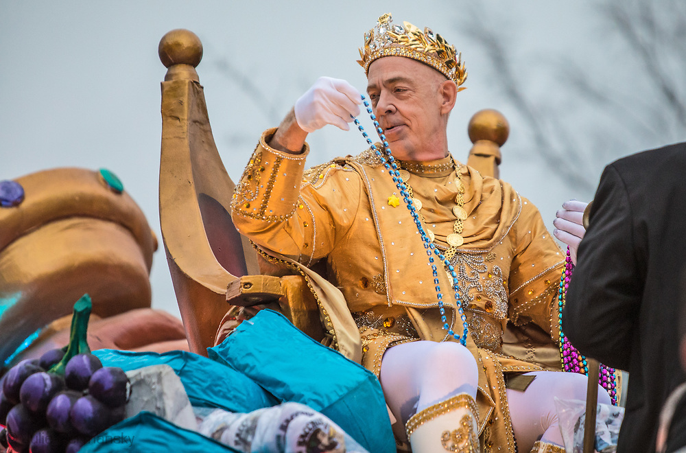 Feb 11. 2018, New Orleans:  Academy-Award winning actor J.K. Simmons as the king of Bacchus in the 2018  Mardis Gras season on top of the lead float in the parade.