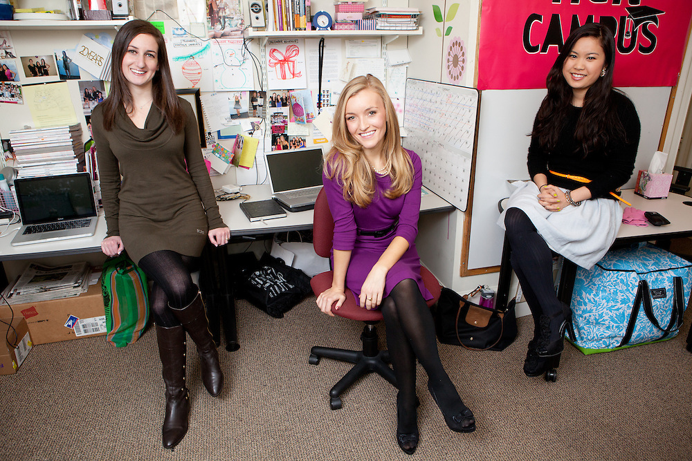 (L to R) Her Campus Founders Stephanie Kaplan, Windsor Hanger, and Annie Wang are pictured at Harvard University in Cambridge, Mass., on December 02, 2010.