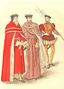 Two peers in their robes accompanied by a Halberdier in the time of Elizabeth I. 16th century.