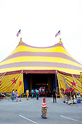 """The Cole Bros. Circus is everything you would imagine from a circus decades ago. This nostalgia keeps audiences returning to the one tent in mall parking lots and on fairgrounds up and down the east coast. """"Back in the depression, while everybody was on food lines and there was no money, the circus was the greatest entertainment. It was the escape. We have seen that again with the recession. The big top is magical, if you've never been to a circus under the tent, there's something thrilling and chilling about it,"""" said Ringmaster Chris Connors...2009 marks the Cole Bros.'s 125th anniversary and the circus claims to be the oldest American circus under a tent. The 136 x 231 foot tent can house over 2,800 fans, along with several acts where the performers hail from all over the world...These images are from shows in Augusta, Georgia, Thomasville, Georgia and Meridian, Mississippi."""