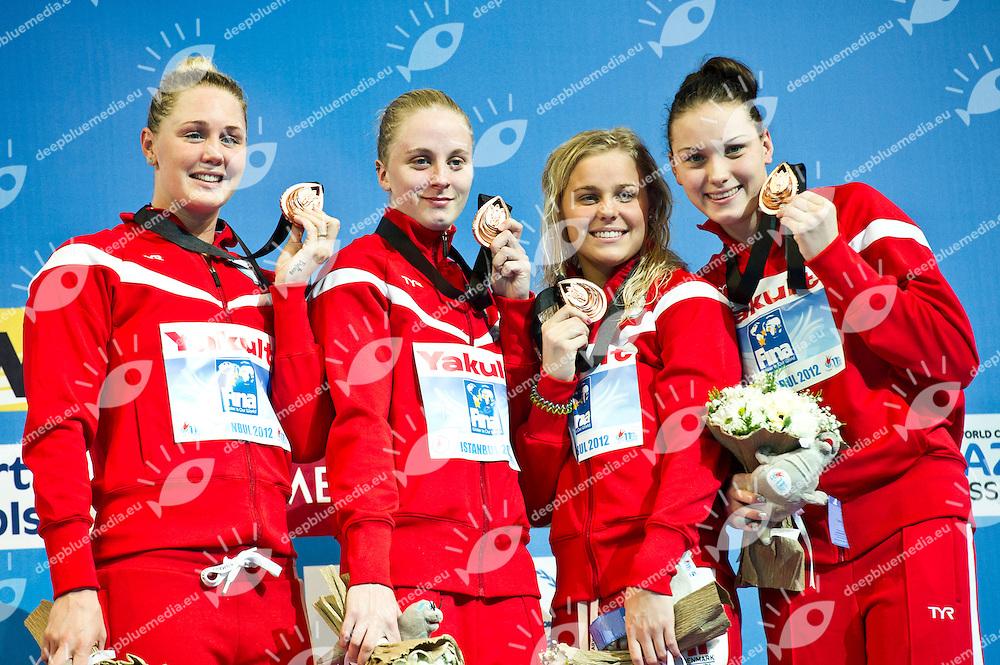 DENMARK Bronze Medal.Women 4x100m Freestyle.FINA World Short Course Swimming Championships.Istanbul Turkey 12 - 16 Dec. 2012.Day 04.Photo G.Scala/Deepbluemedia/Inside