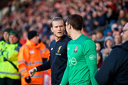 SOUTHAMPTON, ENGLAND - Sunday, February 11, 2018: Liverpool's goalkeeper Loris Karius and Southampton's goalkeeper Alex McCarthy walk out before the FA Premier League match between Southampton FC and Liverpool FC at St. Mary's Stadium. (Pic by David Rawcliffe/Propaganda)